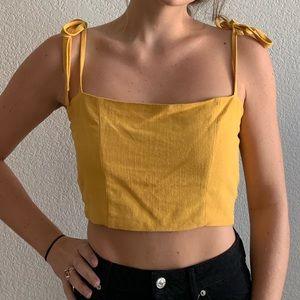 Yellow Tie Crop Top